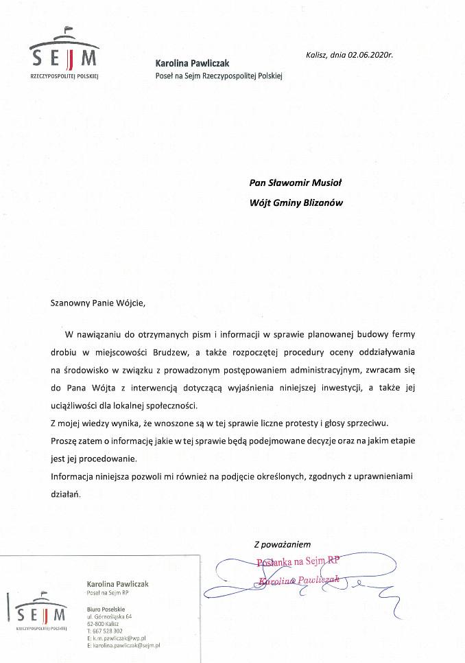 Karolina Pawliczak - Pismo do Wójta Gminy Blizanów
